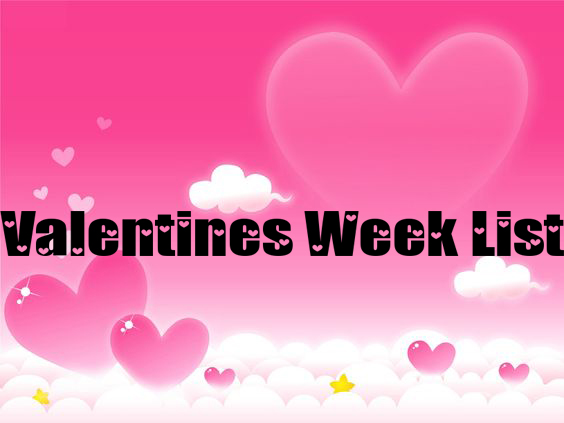 Valentines week list