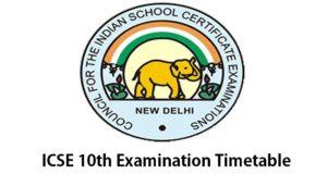 ICSE 2017 Examination Timetable