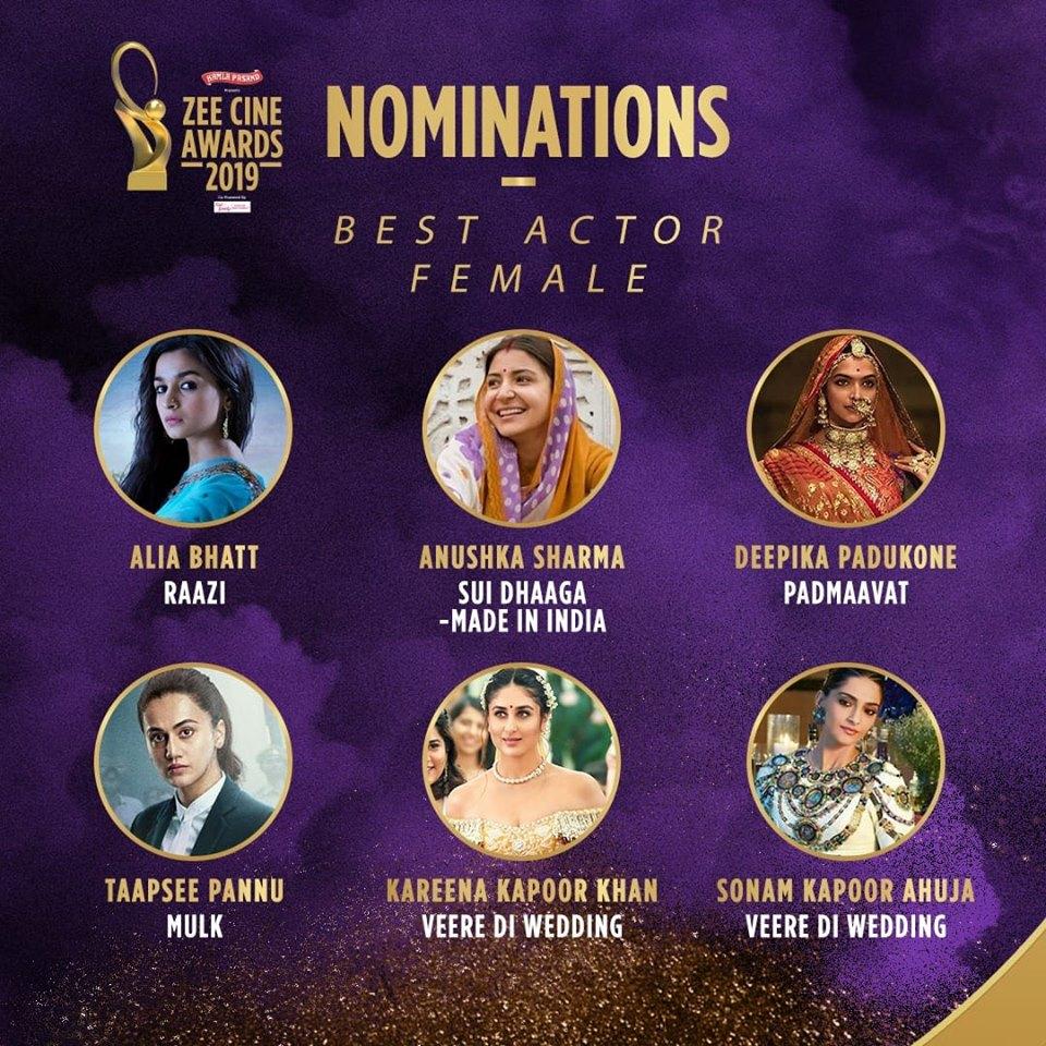 Best Actor Female Nominations