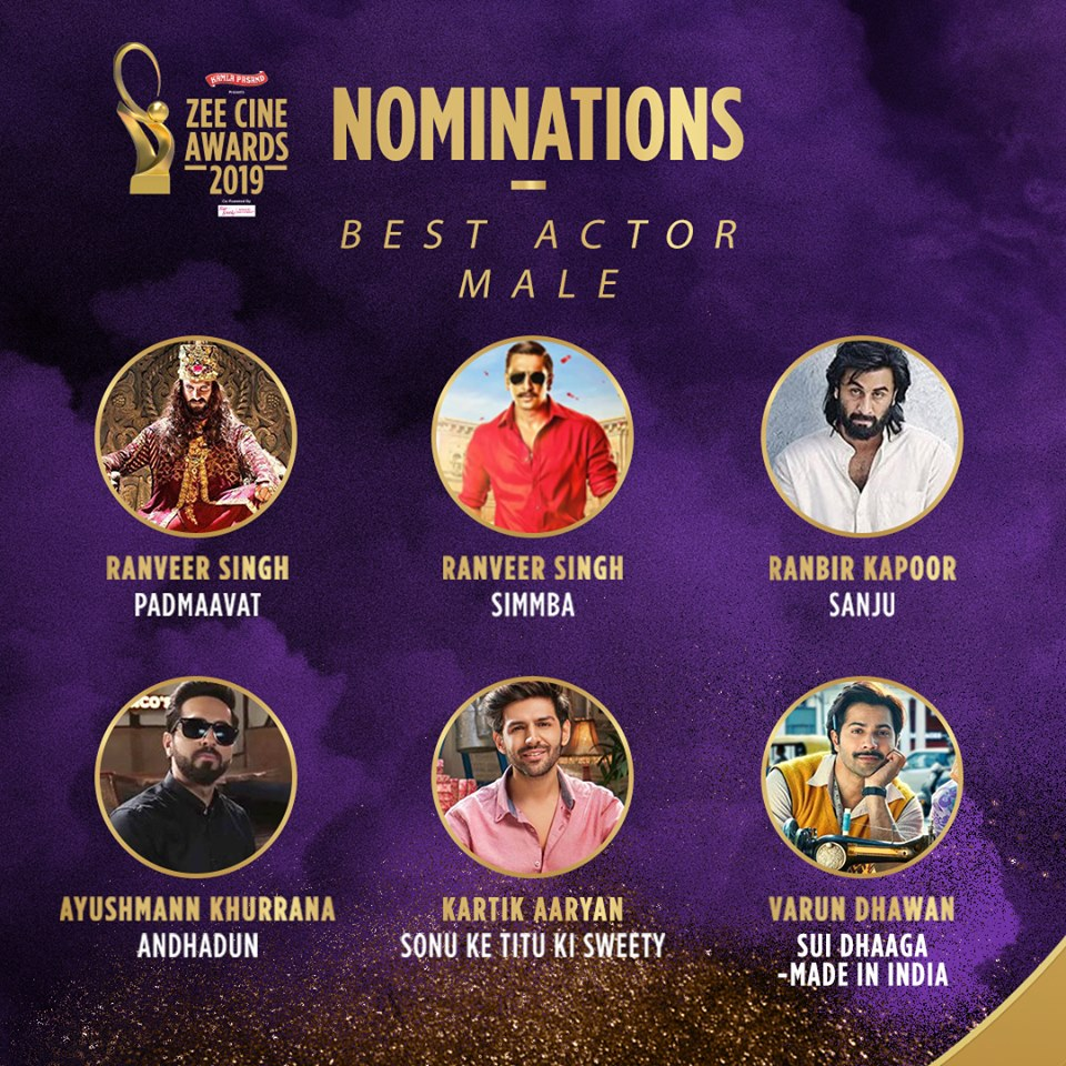 Best Actor Male Nominations